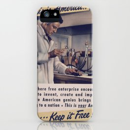 Vintage American World War 2 Poster - This is America: Free Enterprise (1943) iPhone Case