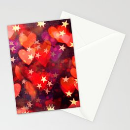 Hearts and stars Valentine bokeh lights sparkle - love heart red glam Stationery Cards
