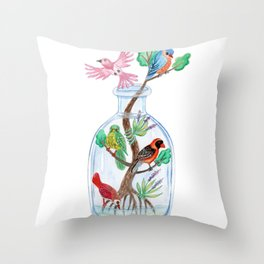 Birds in a Bottle Watercolor Painting Throw Pillow