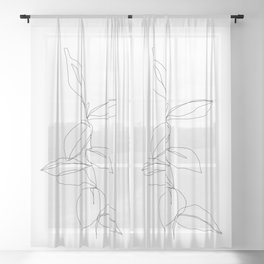 One line minimal plant leaves drawing - Berry Sheer Curtain