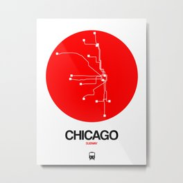 Chicago Red Subway Map Metal Print