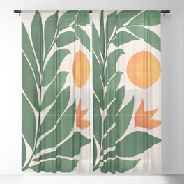 Tropical Forest Sunset / Mid Century Abstract Shapes Sheer Curtain