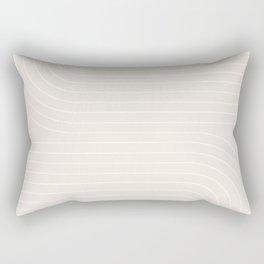 Minimal Line Curvature - Subtle White Rectangular Pillow