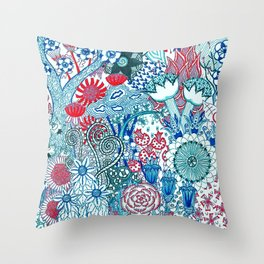 Floral Jungle Blue Throw Pillow