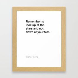 Stephen Hawking quote about stars [White Edition] Framed Art Print