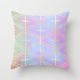 Rose Gold Trellis in Candy Skies Throw Pillow
