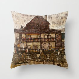 """Egon Schiele """"House with Shingle Roof (Old House II)"""" Throw Pillow"""
