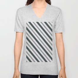 PPG Night Watch Pewter Green  and Dark Green Stripes Angled Lines Unisex V-Neck