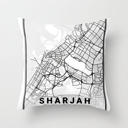 Sharjah Light City Map Throw Pillow