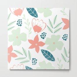 Floral Doodle Pattern  Metal Print