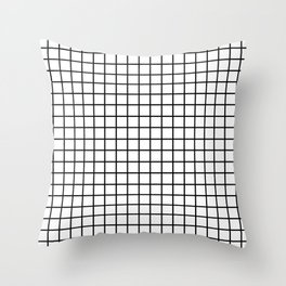 fine black grid on white background - black and white pattern Throw Pillow
