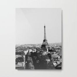 Paris City Sky // Eiffel Tower City Landscape Photography Shot from the top of Champs Elysees France Metal Print