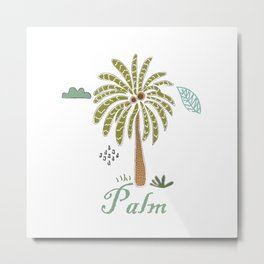 Cute Winter Icon with Palm. Hand Drawn Scandinavian Style Metal Print