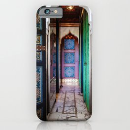 Moroccan painted doors and marble hallway in Marrakech, Morocco iPhone Case