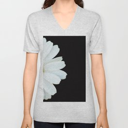 Hello Daisy - White Flower Black Background #decor #society6 #buyart Unisex V-Neck