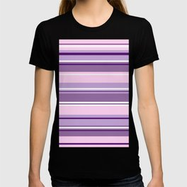 Mixed Striped Design Pinks Purples White T-shirt