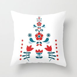 Retro Nordic Folk Throw Pillow