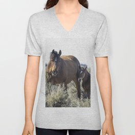Bay Mare and Her Foal, No. 1, Palomino Butte Herd April 2020 Unisex V-Neck