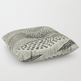 Hand Drawn Patterned Abstract II Floor Pillow