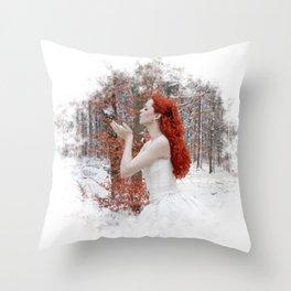 Lady Winter Throw Pillow