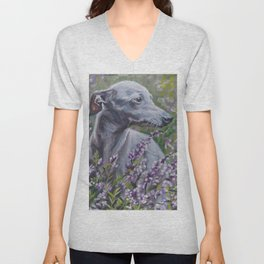 Italian Greyhound dog art from an original painting by L.A.Shepard Unisex V-Neck