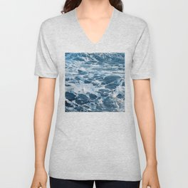 Tropical Ocean Waves With Alabaster Bubbly Surf Unisex V-Neck