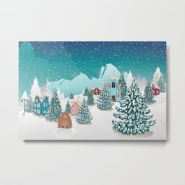 Rural winter landscape with houses, mountain and cute groundhog Metal Print
