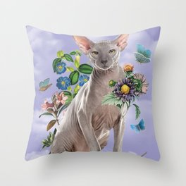 Purple Sphynx Dream Cat Throw Pillow