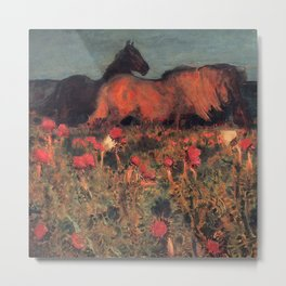 Wild Horses, Red Poppy, & Shepard Night landscape painting  by Mikhail Vrubel Metal Print