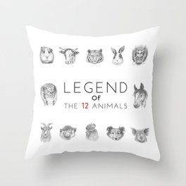 Legend of The 12 Animals Throw Pillow