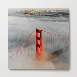 Golden Gate Bridge, San Francisco on Foggy Morning Metal Print