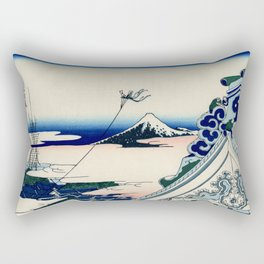 "Hokusai (1760-1849) ""Asakusa Hongan-ji temple in the Eastern capital [Edo]"" Rectangular Pillow"
