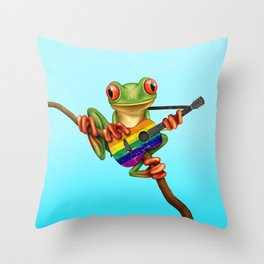 Tree Frog Playing Acoustic Guitar with Gay Pride Rainbow Flag Throw Pillow