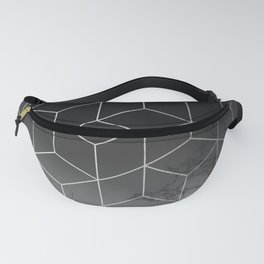 Silver Geometric Cubes Trendy White Grey Marble Fanny Pack