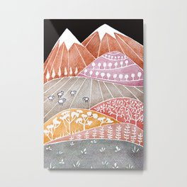 Tatry mountains, sheep watercolor landscape nature Metal Print