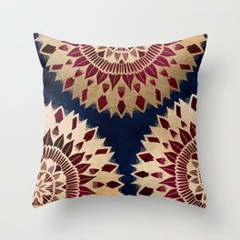 Bohemian Gold Navy Burgundy Hand Drawn Mandala Throw Pillow