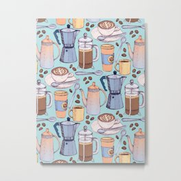 Coffee Love on Blue Metal Print
