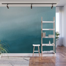 Tropical Dark Teal Inspired by Sherwin Williams 2020 Trending Color Oceanside SW6496 Watercolor Ombre Gradient Blend Abstract Art Wall Mural