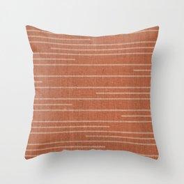 Geometric Art, Colorful Stripes Mudcloth, Terracotta Throw Pillow