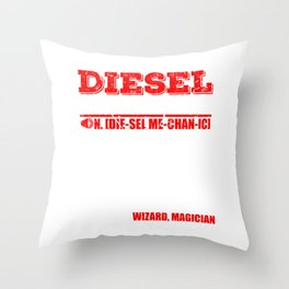 Diesel Mechanic Wizard Magician T-shirt Design Fix Problem Solve Issues Dictionary Style  Throw Pillow