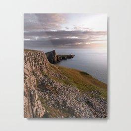 The Neist Point Lighthouse - cliffs, nature, landscape, sunset, beacon, scotland, isle of skye Metal Print