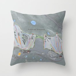 Summit At Snoqualmie Trail Map Throw Pillow
