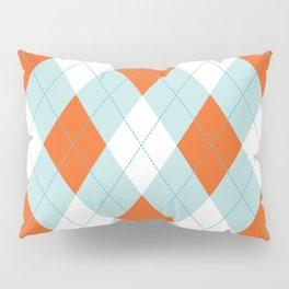 Aqua, Mint and Coral Orange Argyle Pattern Pillow Sham