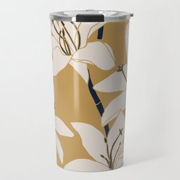 Amaryllis Floral Line Drawing, Beige and Navy on Yellow Ochre Travel Mug