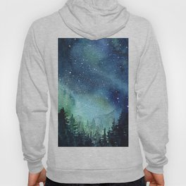 Galaxy Watercolor Aurora Borealis Painting Hoody