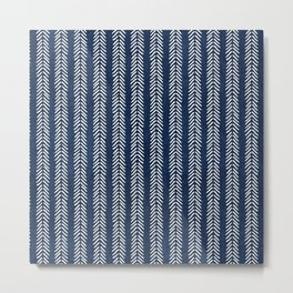 Mud cloth - Navy Arrowheads Metal Print