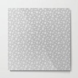 Festive Silver Grey and White Christmas Holiday Snowflakes Metal Print