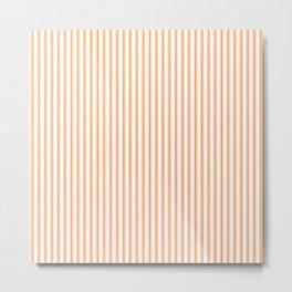 Bright Orange Russet Mattress Ticking Narrow Striped Pattern - Fall Fashion 2018 Metal Print