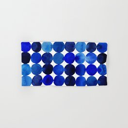 Blue Circles in Watercolor Hand & Bath Towel