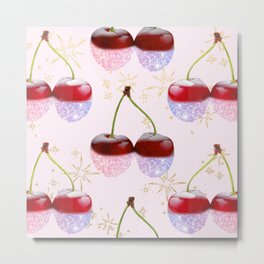 Sparkle Cherries on Pink Metal Print